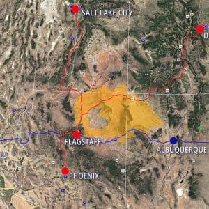 Arcadian Phoenix to Salt Lake City Map