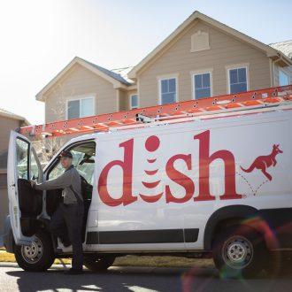 Dish technician and van