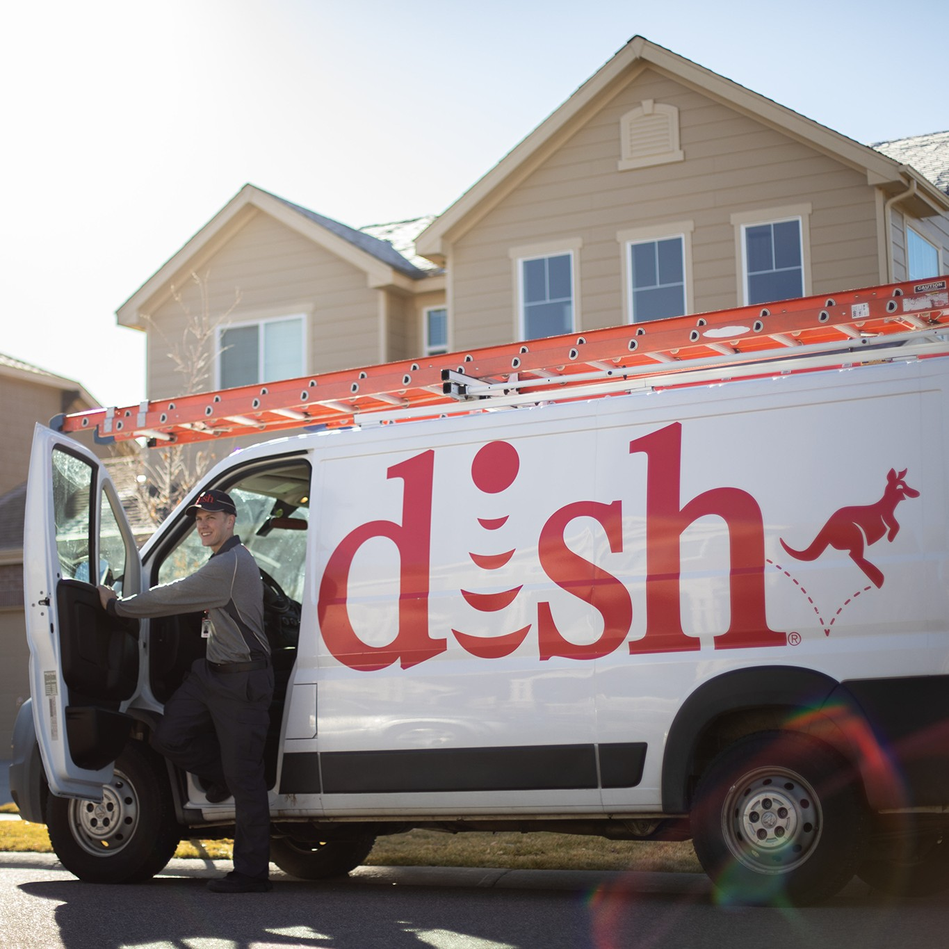 Dish technician and van