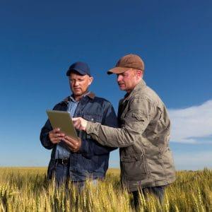 Farmers in rural area on laptop
