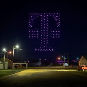 T-Mobile logo in the sky by drones