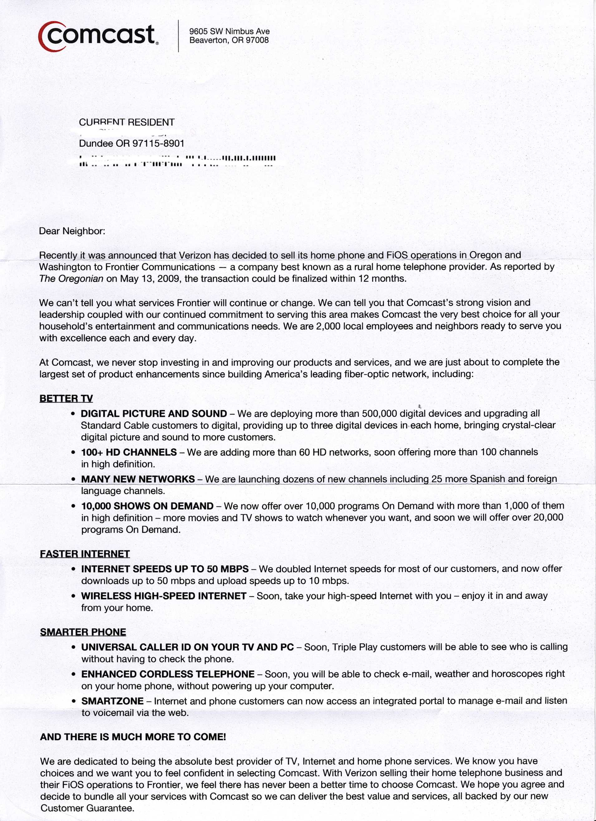 comcast cover letter