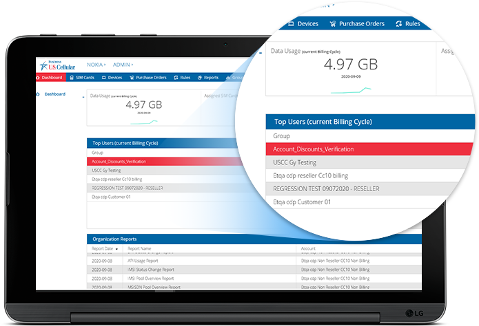 UScellular connectHQ dashboard