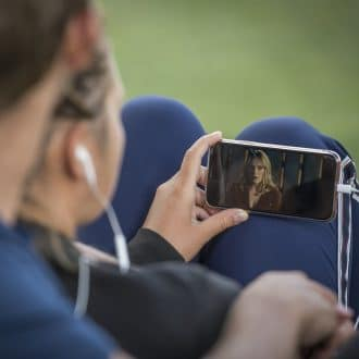Couple on phone watching video