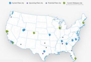 Google fiber Locations (Source: Google fiber website)