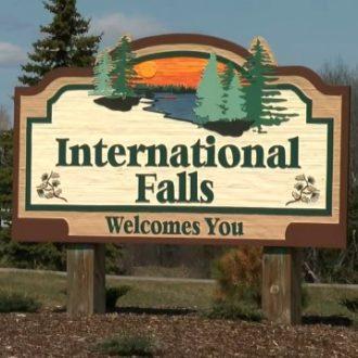 International Falls, Minnesota Welcome Sign