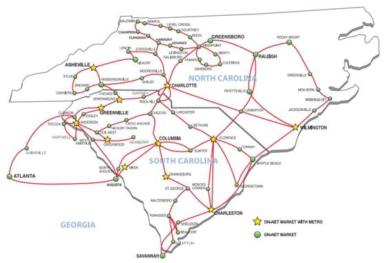 PalmettoNet Network Map