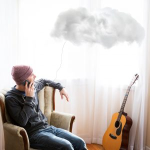 phone connected to cloud