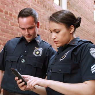 police on mobile phone