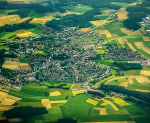 small town aerial view