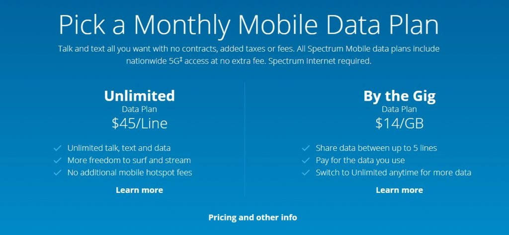 spectrum mobile plans