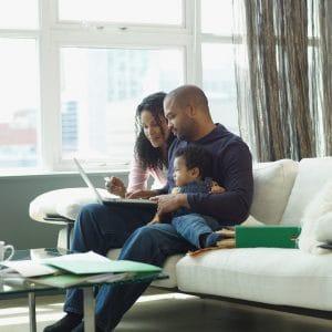 Urban family on computer