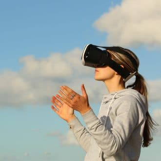 Woman with VR Wearable Goggles