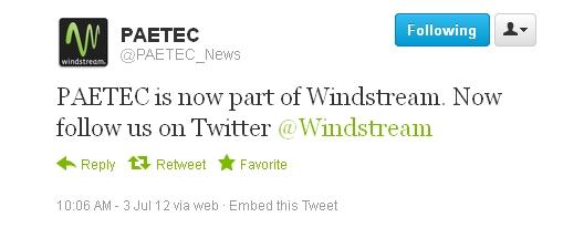 Windstream Tweet