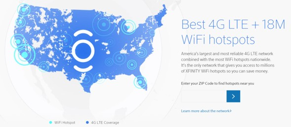 xfinity mobile network map